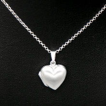 Load image into Gallery viewer, Silver heart shaped photo locket on Italian silver chain against black background