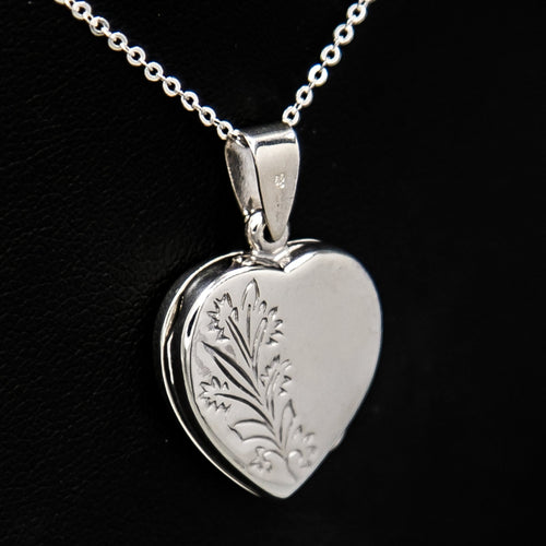 Silver heart-shaped photo locket pendant with embellishment on Italian silver chain