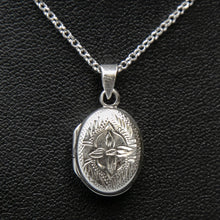 Load image into Gallery viewer, Embellished silver photo locket with lily motif on italian silver chain