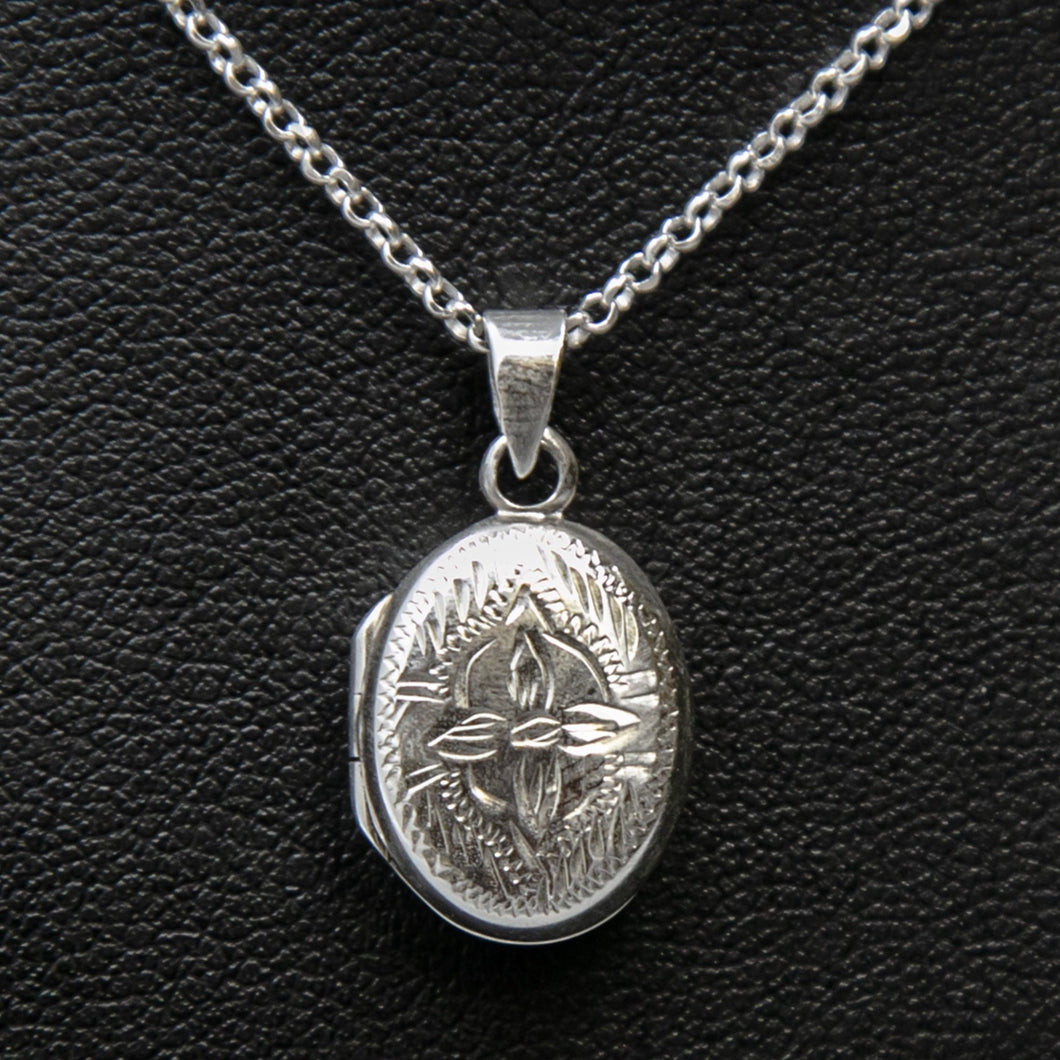 Embellished silver photo locket necklace with lily motif on Italian silver chain