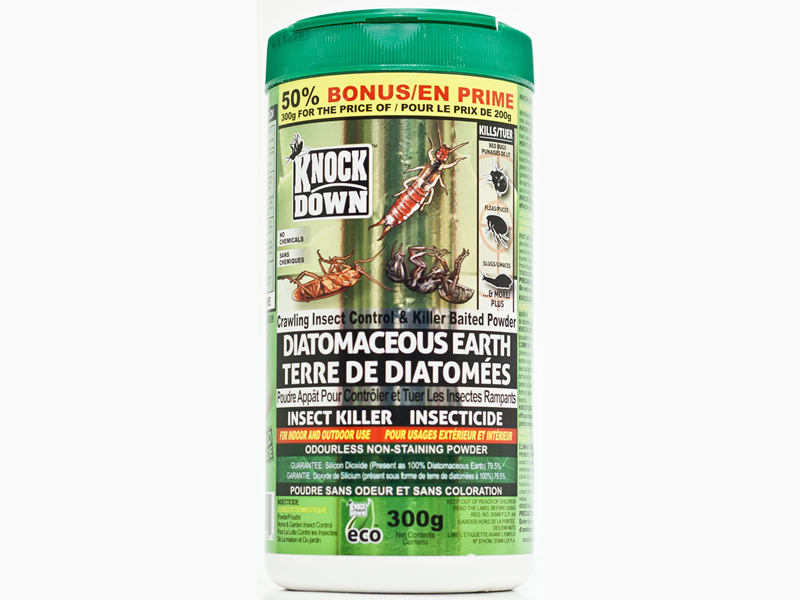 KnockDown - Diatomaceous Earth Insecticide - for Bed Bugs, Ants, Cockroaches and All Kind of Crawling Insects. Easy to use with Plastic Container