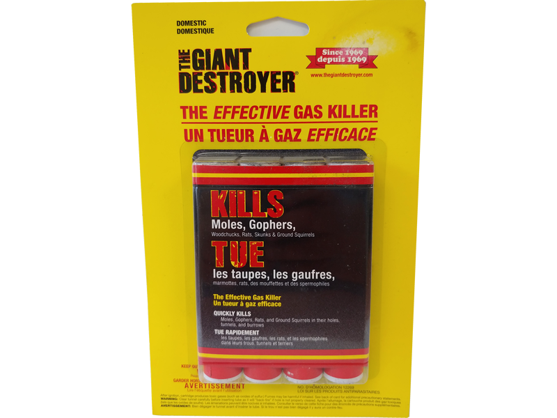 The Giant Destroyer Rodent Gasser 1 pack of 4 sticks - Burrowing sticks