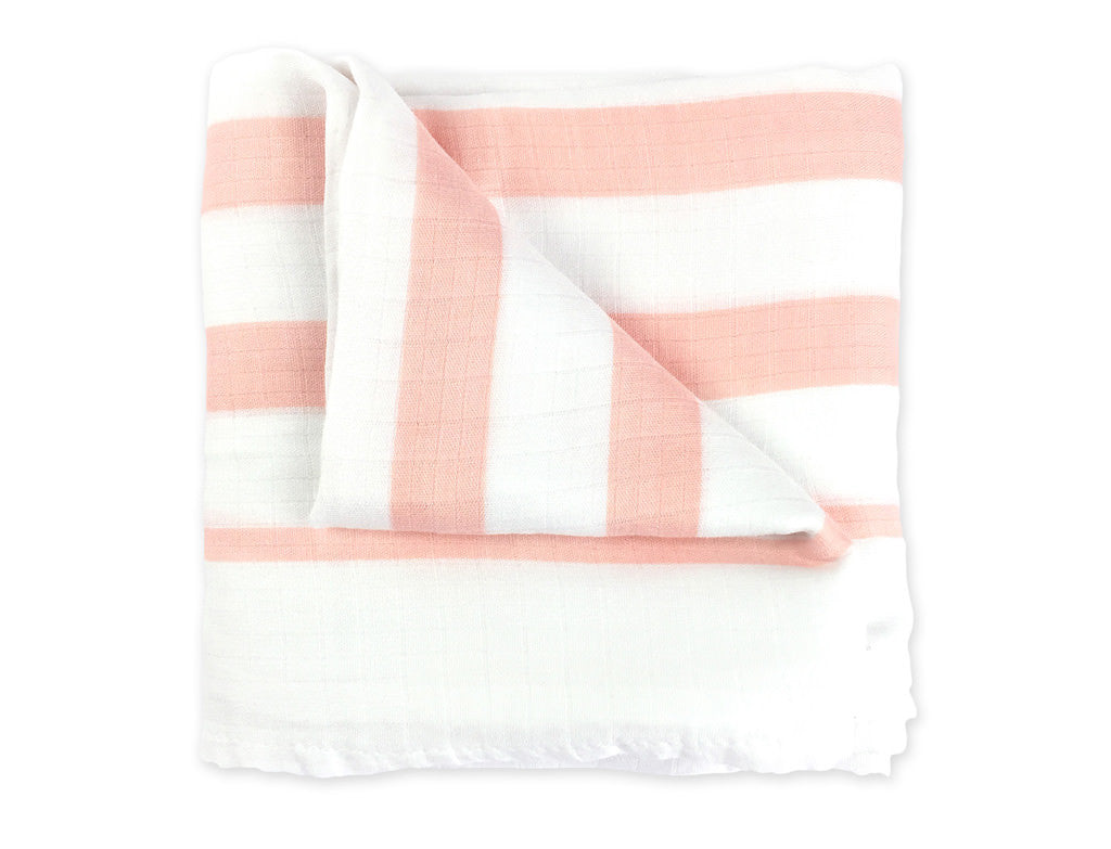 Coral Stripe Muslin Swaddle