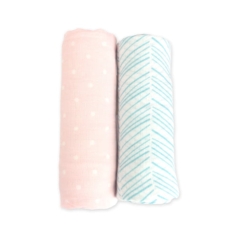 2 Pack Bamboo Muslin Swaddles - Emerson