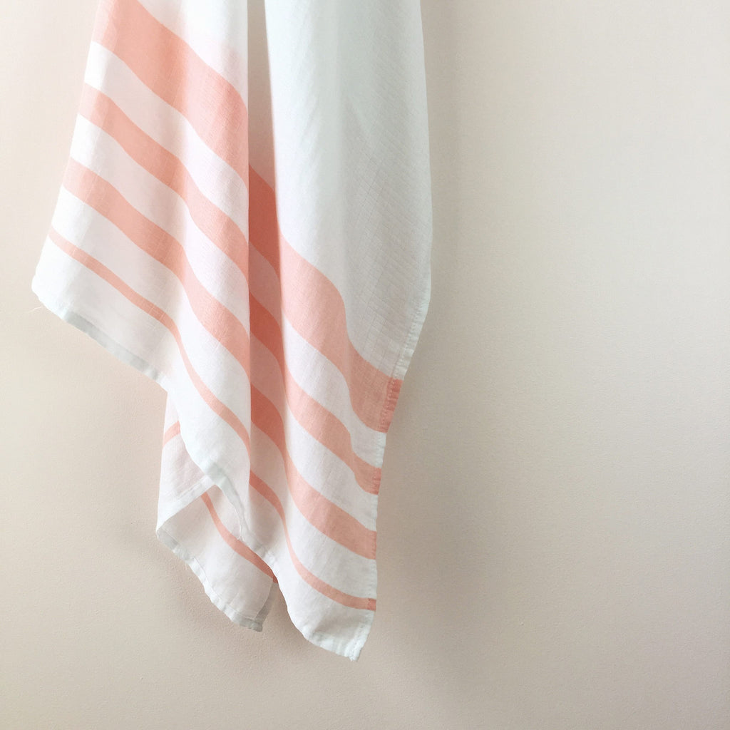 Peach Stripe Muslin Swaddle
