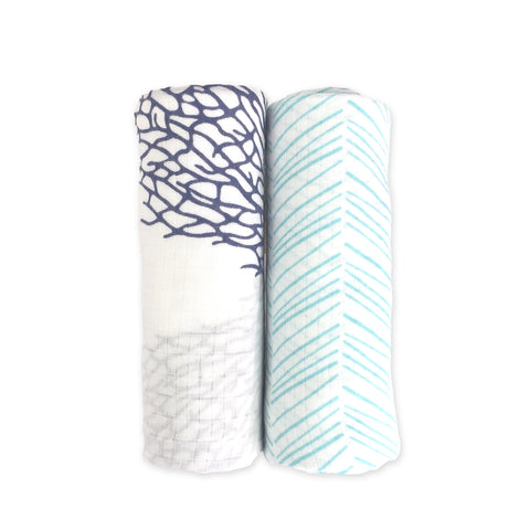 2 Pack Bamboo Muslin Swaddles - Emerson/Harbour