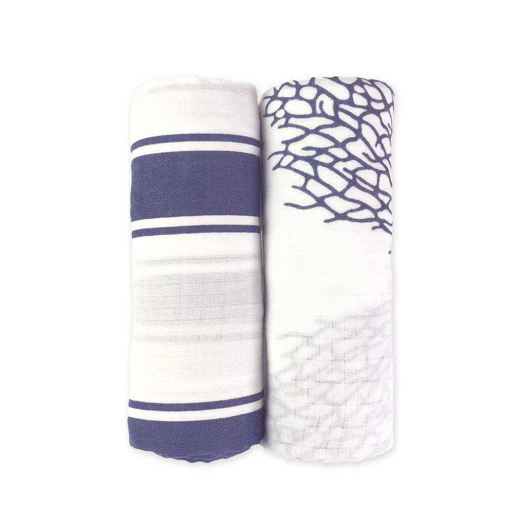 Blue Bamboo Muslin Swaddles