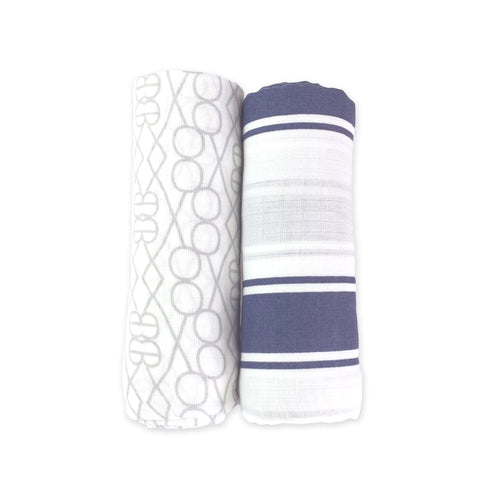 2 Pack Bamboo Muslin Swaddles - Nantucket