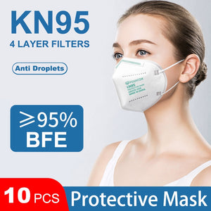 POWECOM 10Pcs KN95 Mask Reusable Mask Protective Face Mask 4Layer Dust Face Mouth Masks Respirator Safety Mask Breathable Mask