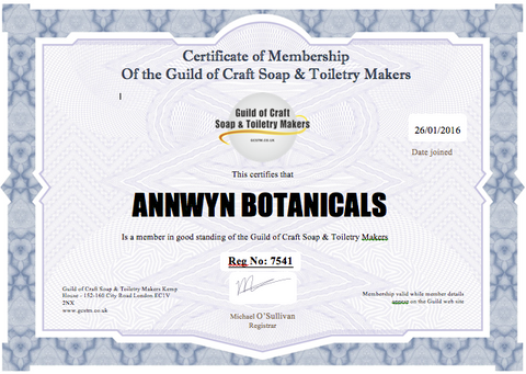 ANNWYN Botanicals certificate of membership of the Guild of Craft Soap and Toiletry Makers