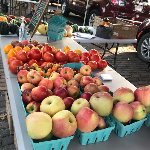 ohio apples and tomatoes at the farmers market