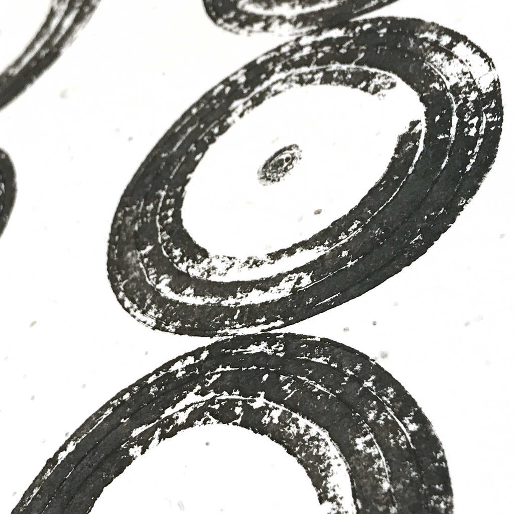 Betsy Marie veggie print, black ink impression of onions, detail