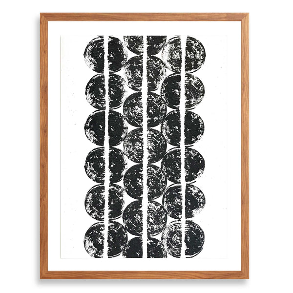 Betsy Marie veggie print, black ink impression of onions