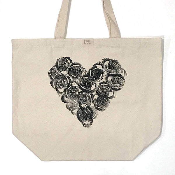 Betsy Marie celery pattern creating a heart on 100% recycled cotton tote bag