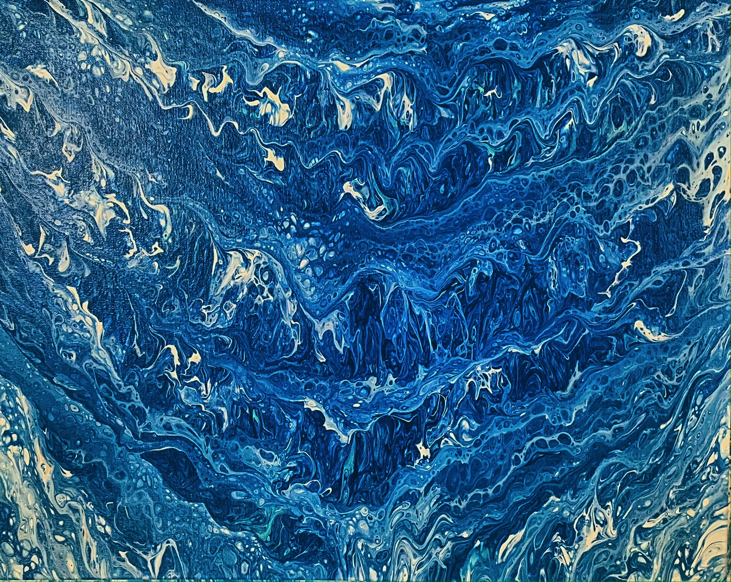 "Waves 20""x 16"" acrylic pour and swipe"