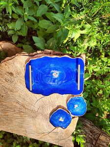 Resin Dark Blue Plate & Coasters