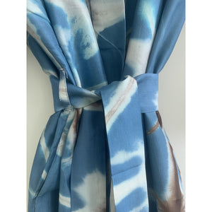 Blue and Chocolate Star Silk Robe
