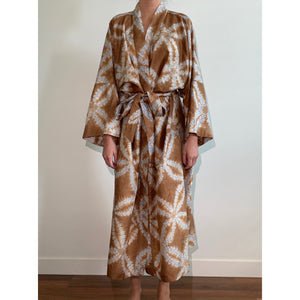 Chocolate and Blue Silk Robe
