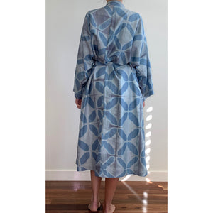 Ink Blue on Grey Flower Silk Robe