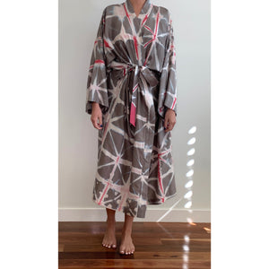 Chocolate and Raspberry Star Silk Robe