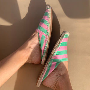 Silk Lounging Slippers - Rose and Mint Stripe