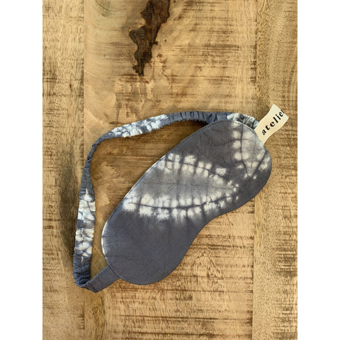 Blue and White Silk Eye Mask