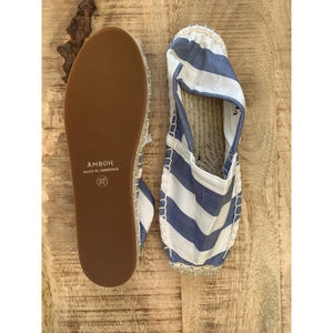 Silk Lounging Slippers - Marine Blue and White Stripe