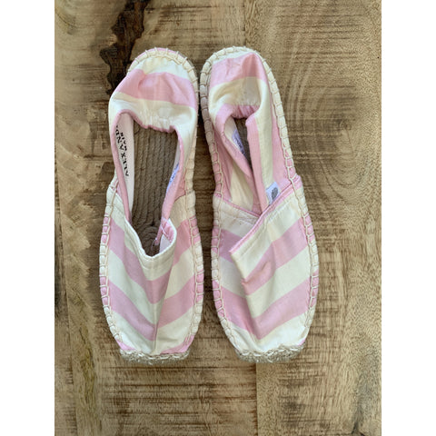 Silk Lounging Slippers - Pink and White Stripe