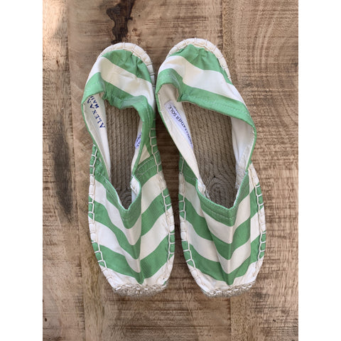 Silk Lounging Slippers - Mint and White Stripe
