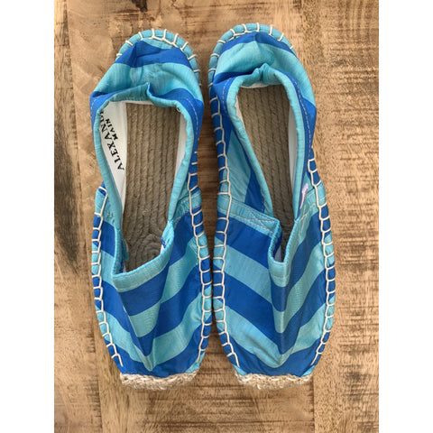 Silk Lounging Slippers - Blue on Blue Stripe
