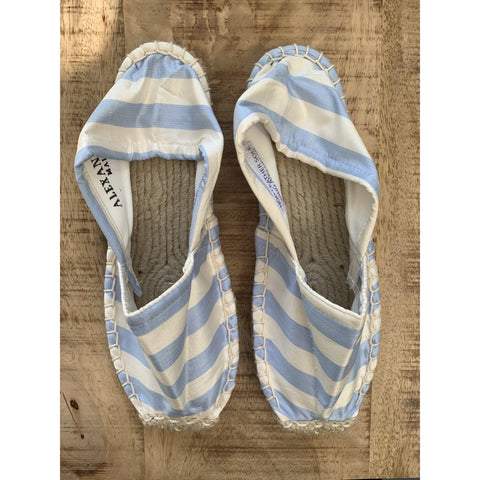 Silk Lounging Slippers - Ice Blue and White Stripe