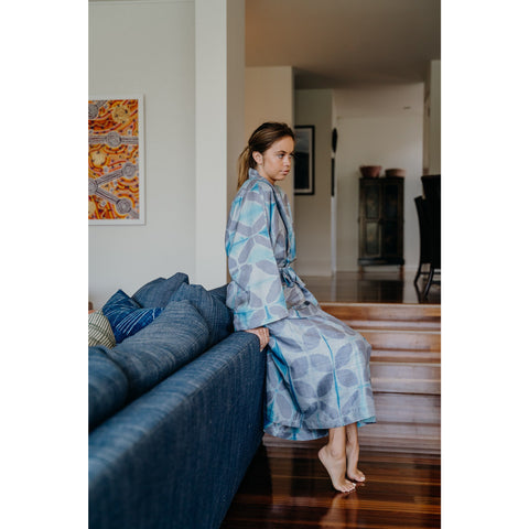 Grey Flower Silk Robe