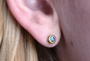 Montana Sapphire Earrings, gold stud earrings, silver stud earrings