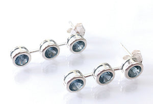 Montana Sapphire Earrings, Three-Stone Sterling, Trio Stone Sterling