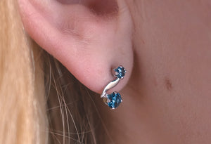 Montana Sapphire Earrings, S shape earrings