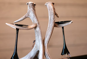 Wine Glass & Bottle Holder w/Antler