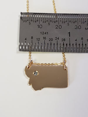 14K Gold fill Montana State with Sapphire Necklace