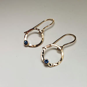 14K Gold Drop Earrings with Montana Sapphire