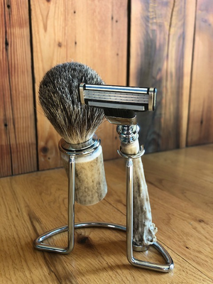 Antler Razor with Brush & Stand Set