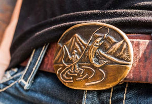 Bronze Flyfishing Angler's Dream Belt Buckle