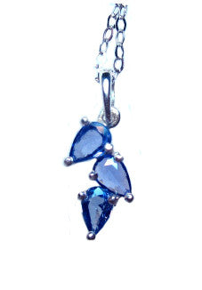 Yogo Sapphire Necklace, Pear Shaped 3-stone Pendant