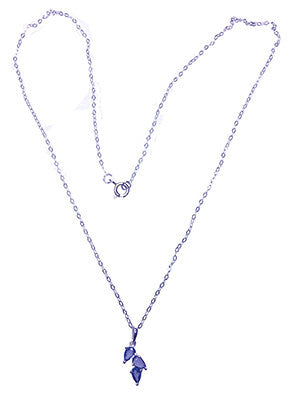 Yogo Sapphire Necklace, Pear Shaped 3-stone Pendant - Sold Out