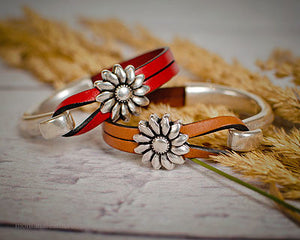 Sterling Sunflower Leather Bracelet