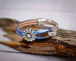 Sunflower Leather Bracelet, Blue