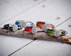 Sterling Sunflower Leather Bracelet, All Colors