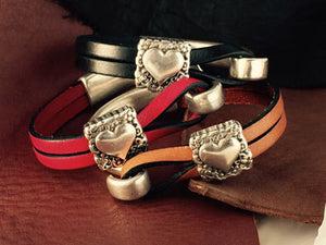 Sterling Heart Leather Bracelets, Trio