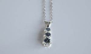 Montana Sapphire Necklace, Three Stone Drop Pendant