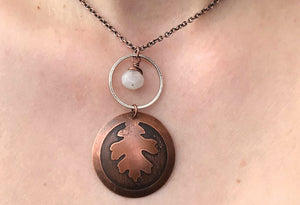 Copper Oak Tree Pendant w/  Moonstone Charm