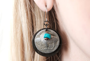 Buffalo Nickel Disk with Turquoise Earrings
