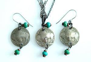 Embellished Buffalo Nickel Turquoise Necklace & Earrings